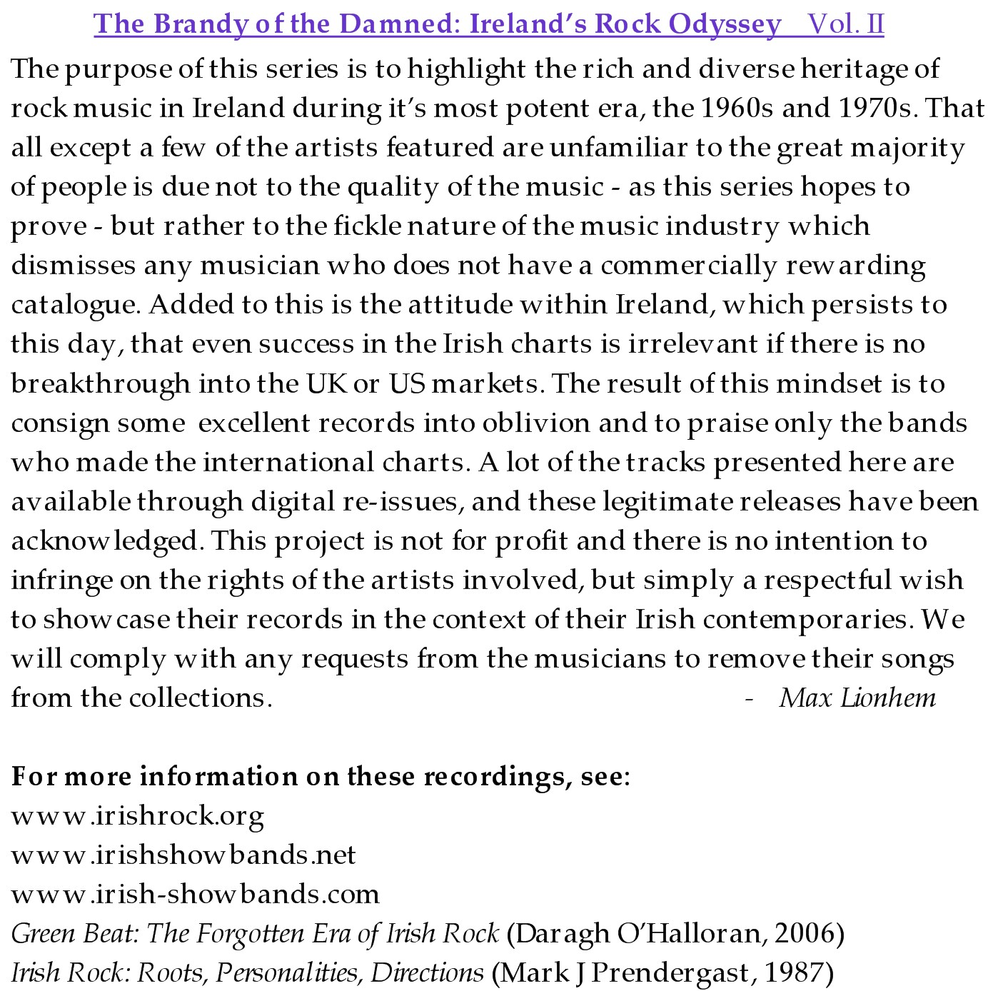 The Brandy of the Damned: Ireland's Rock Odyssey, Vol  II | Rock